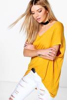 boohoo Isobel Oversized V Neck T-Shirt mustard