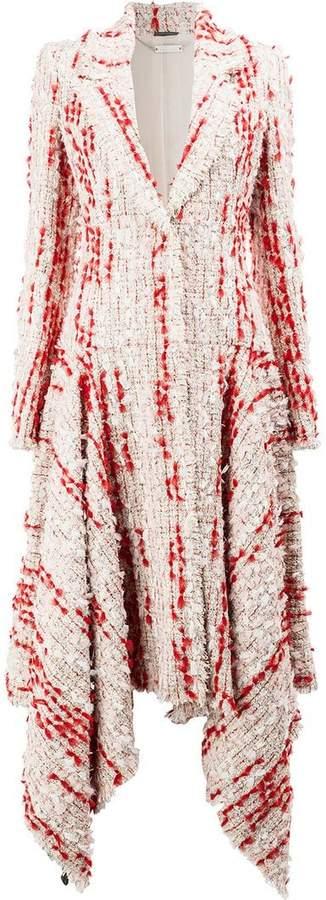 Alexander McQueen Tweed Cocoon asymmetric hem coat
