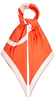 Valentino V-logo Print Silk-faille Scarf - Womens - Orange