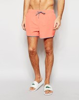 Asos Runner Swim Shorts In Coral With Contrast Binding In Short Length