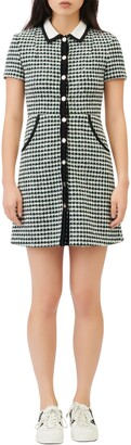 Maje Houndstooth Check Cotton & Wool Blend Dress