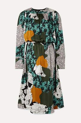 By Malene Birger Niella Floral-print Satin Midi Dress - Green