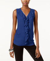 INC International Concepts Petite Ruffled Zip-Trim Top, Only at Macy's