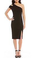 Maggy London Cut Out One Shoulder Midi Sheath Dress