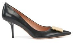 HUGO BOSS Heeled pumps in Italian leather with monogrammed hardware