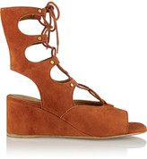 Chloé Lace-up Suede Wedge Sandals - Tan