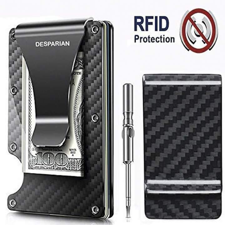 43f20de14c4514 RFID Blocking Anti Scan Metal Wallet Money Cash Clip Minimalist Carbon Fiber  Slim Wallet Card Holder ...