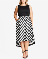 City Chic Trendy Plus Size High-Low Fit & Flare Dress
