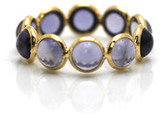 Tresor Collection - Iolite Smooth Oval Stackable Ring Bands In 18k Yellow Gold