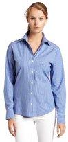 Chaus Women's Classic Stripe Long Sleeve Shirt, Blue Bell, 4