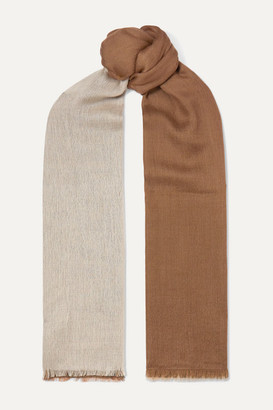 Loro Piana Aylit Fringed Color-block Cashmere And Silk-blend Scarf - Camel