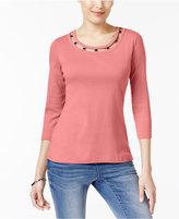 Karen Scott Cotton Cutout-Neck Top, Created for Macy's