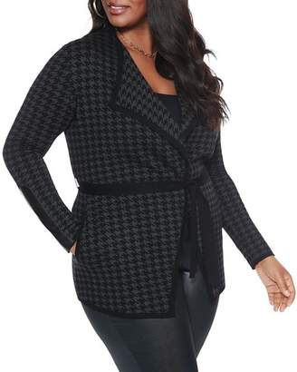 Belldini Plus Houndstooth Belted Cardigan