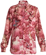 Marco De Vincenzo Painterly-print ruffle-trimmed satin shirt