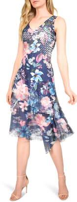 Komarov Ruffle Trim Sleeveless Charmeuse Midi Dress