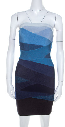 Herve Leger Ombre Blue Knit Strapless Bandage Mini Dress S