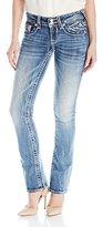 Vigoss Women's Chelsea Medium Wash Heavy Stitch Double V Back Pocket Jean