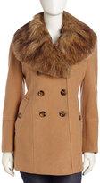 Nicole Miller Faux-fur Collar Pea Coat, Deep Camel