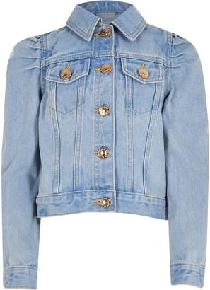 River Island Girls Blue puff sleeve denim jacket