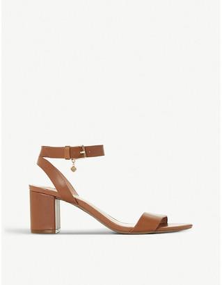 Dune Memee leather mid block-heel sandals