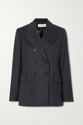 ALEXACHUNG E.vill Boy Double-breasted Pinstriped Wool-blend Blazer - Navy