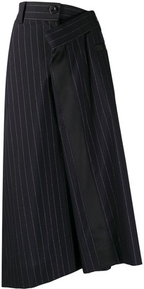 Sacai Asymmetric Striped Midi Skirt