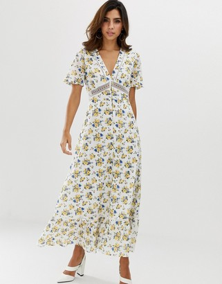 Asos DESIGN lace insert button through maxi tea dress in ditsy floral print