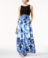 Betsy & Adam Solid and Floral-Print Illusion Gown