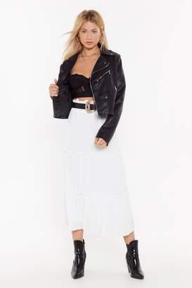 Nasty Gal Womens Frill Detail Midi Skirt - white - L