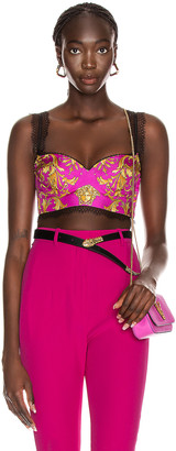 Versace Brocade Bra Top in Fuchsia | FWRD