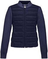 Moncler Maglia Knit Zip Cardigan w/Down Front, Navy, Size 8-14