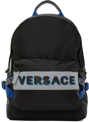 Versace Black and Blue Nylon Backpack