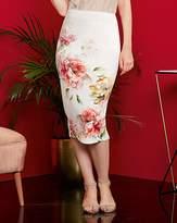 Fashion World Floral Print Stretch Scuba Pencil Skirt