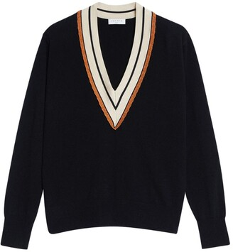 Sandro Striped V-Neck Sweater