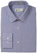 Haggar Men's Tattersal Check Point Collar Regular Fit Long Sleeve Dress Shirt