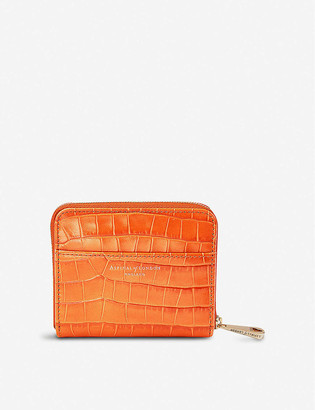 Aspinal of London Continental Mini Slim croc-embossed leather purse