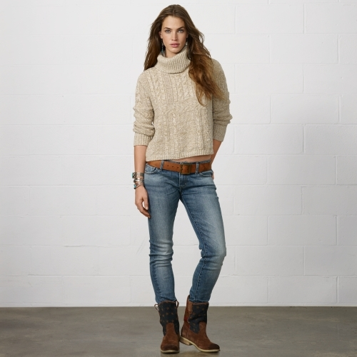 Denim & Supply Ralph Lauren Cabled Cotton-Linen Turtleneck