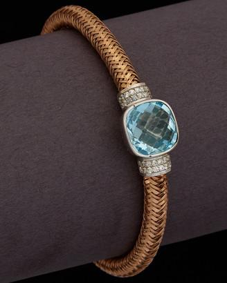 Meshmerise 18K Italian Rose Gold 8.40 Ct. Tw. Diamond & Blue Topaz Stretch Bangle