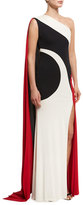Naeem Khan Colorblock One-Shoulder Gown, Black/Ivory/Red