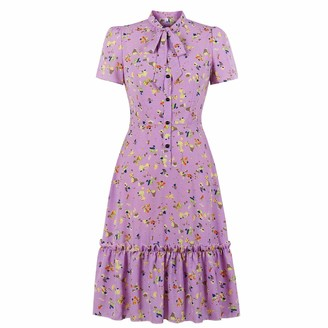 Wellwits Women's Print Button up Tie Neck Frill Ruffle Trumpet Vintage Dress 2XL Purple