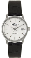 Rotary GS02874/06 Men's Avenger Leather Strap Watch, Black/White