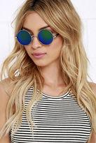 A. J. Morgan Imagine Silver and Blue Mirrored Sunglasses