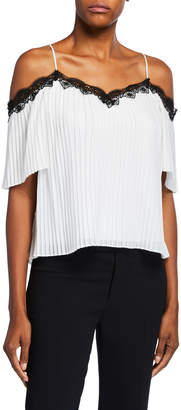 Alice + Olivia Fefe Cold-Shoulder Lace-Trim Pleated Blouse, White/Black