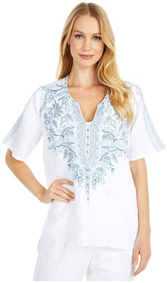 Johnny Was Maike Flutter Sleeve Blouse (White) Women's Clothing
