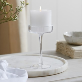 The White Company Glass Pillar Small Candle Holder, Clear, One Size