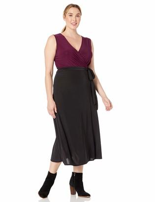 Star Vixen Women's Plus-Size V-Neck 2-Tone Sleeveless Faux Wrap Maxi Dress