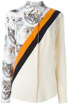 Stella McCartney cat print stripe shirt - women - Silk - 40