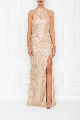 Honor Gold Harley Gold Blush Sequin Backless Maxi Dress With Split