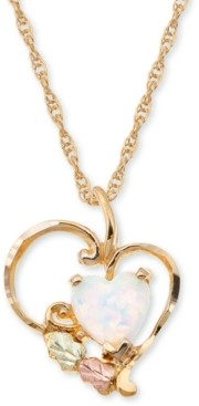Black Hills Gold Opal Heart Pendant in 10K Yellow Gold with 12K Rose and Green Gold
