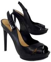 Badgley Mischka Black Leather Slingback Heels